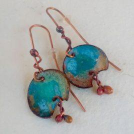 Pendientes cobre y esmalte turquesa