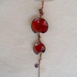 Conjunto cobre y esmalte rojo