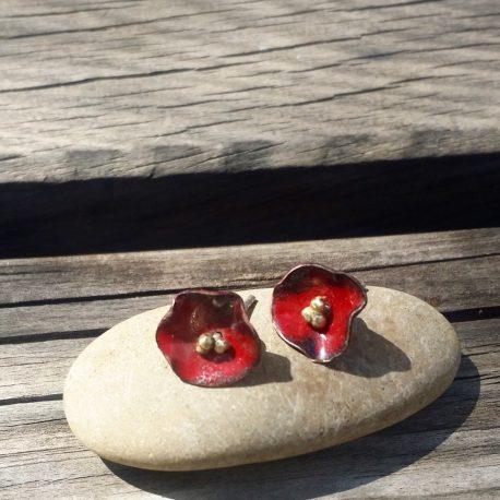 Pendientes amapola rojos pequeños