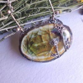 Colgante Ámbar plata, cerámica, cristal y esmalte