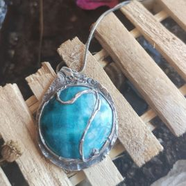Colgante plata y cerámica azul cielo 1