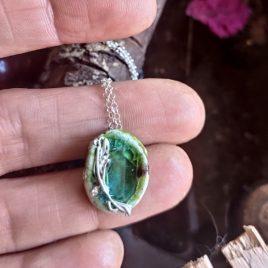 Colgante verde turquesa pequeño plata y cristal1